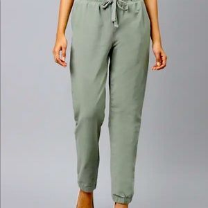 Marks and Spencer Linen Rich Khaki Jogger Trousers